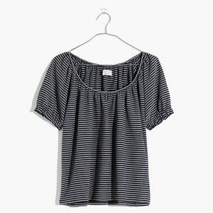 NWT Madewell Smoked Blouse in Navy Stripe